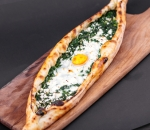 Pide with spinach, cheese and egg