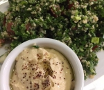 Tabula salad with hemp seed and humus