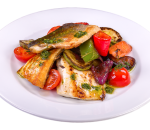 Sea bass fillet with grilled vegetables