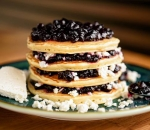 American Pancakes with Jam and Cheese