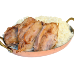Slowly cooked pork with steamed rice and truffle sauce