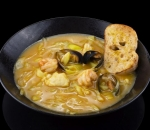Homemade fish soup with sole fish