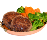 Beef meatballs with stewed vegetables and truffle sauce