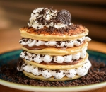 American Pancakes with Nutella, cream and oreo
