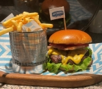 Cheese & Bacon burger menu with french fries
