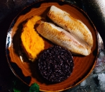 White fish with sweet potato puree and imperial rice