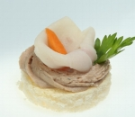 Chicken ham with mousse of paste