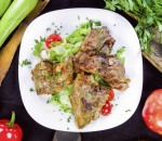 45. Lamb chops - drizzled with herbal sauce and pine nuts