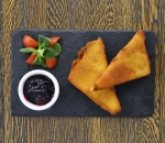 Crispy Cheese with blueberry jam
