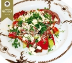 Shopska salad with roasted peppers