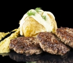 Veal meatballs with baked potato