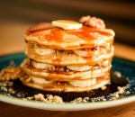American Pancakes with Maple Syrup, Banana and Walnuts