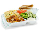 Portion chicken kebab with rice