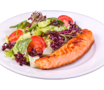 Salmon fillet with fresh salad