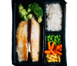 White fish with vegetables and rice
