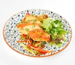 Corn chicken fillet with sauteed vegetables and fresh green salad