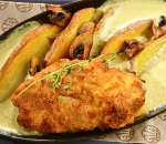 Stuffed chicken fillet with truffle cream and mushrooms, in cheese sauce and baked red potatoes (350g)