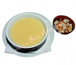 Potato cream soup with croutons