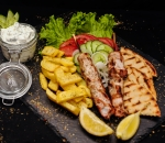 Portion skewer with chicken meat