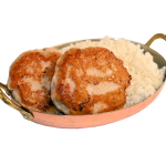 Chicken meatballs with steamed rice and truffle sauce